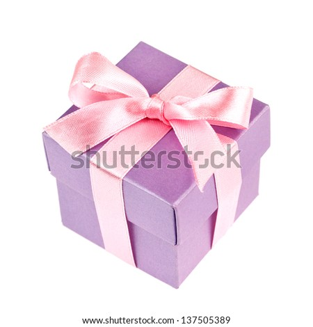 lilac gift box with pink ribbon and bow isolated on white top view