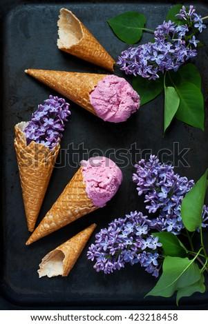 Lilac Ice Cream in  waffle cones - stock photo