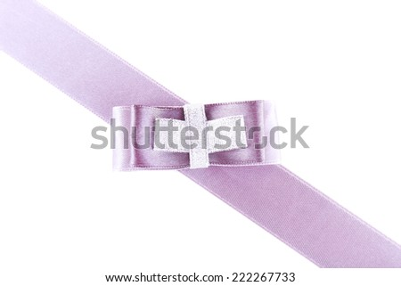 Lilac ribbon and bow isolated on white