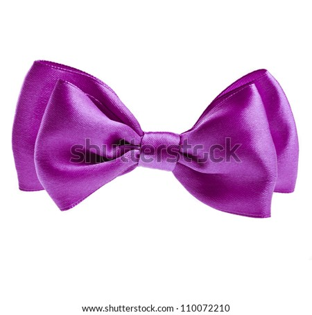 lilac ribbon  bow tie isolated on white background - stock photo