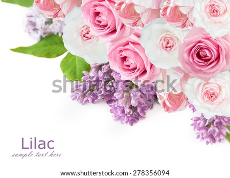 Lilac,roses and tulips flowers background isolated on white with sample text - stock photo