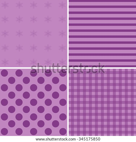 Lilac Set of simple retro Christmas patterns