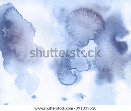 Lilac spots, watercolor abstract hand painted background. Serenity Tint Watercolour Texture Gradient - stock photo