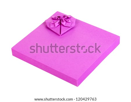 Lilac sticky notes isolated on white
