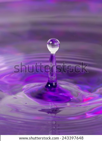 lilac water and a bowl with a column formed from abandoned drops