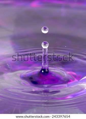 lilac water and a water column with balls formed from abandoned drops