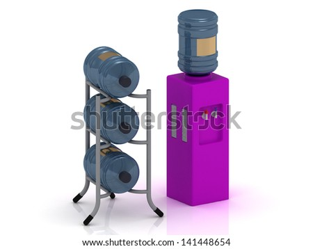 Lilac water cooler with bottles and three bottles of water on the stand - stock photo