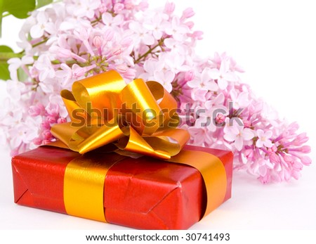 lilacs and gift isolated on white