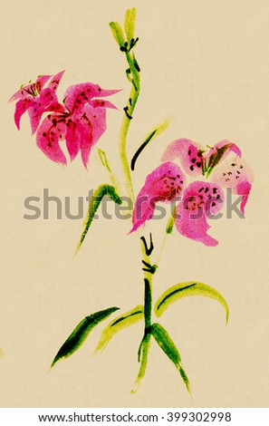 Lilium tigrinum, lily. Picture in east style - stock photo
