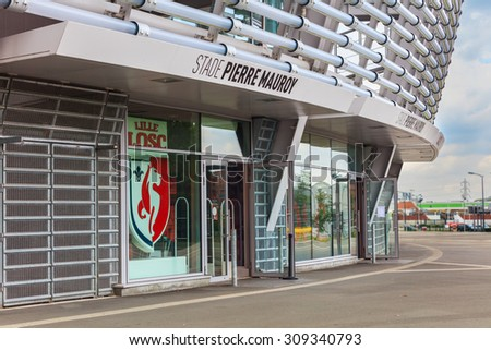 Lille, France - August 14, 2015: view of new Pierre Mauroy football stadium ready for UEFA EURO 2016 with entrance to fan shop, Lille, France