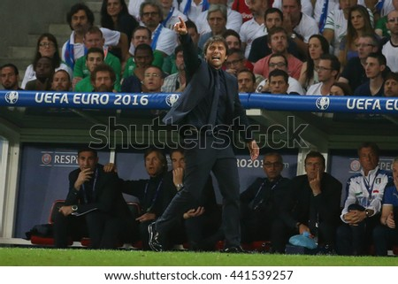 LILLE - FRANCE,  JUNE 2016 :  Conte in action during  football match  of Euro 2016  in France between  Italy vs Irland at the  Stade Pierre Mauroy  on June 22, 2016 in Lille.