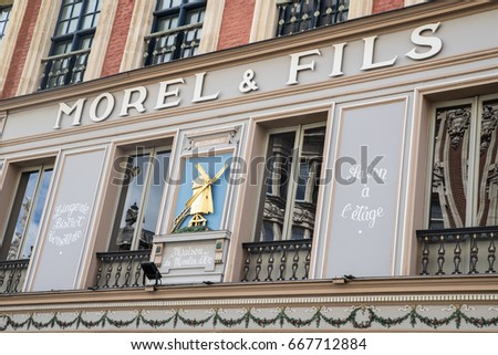 LILLE, FRANCE - JUNE 25TH 2017: The beautiful exterior of the Morel and Fils Brasserie in the historic city of Lille in France, on 25th June 2017.