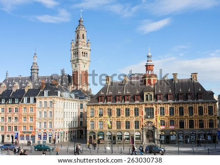 LILLE, FRANCE - NOVEMBER 2, 2009: Chambre of Commerce and historical houses at the Place General de Gaulle in Lille, France. - stock photo