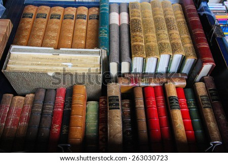 LILLE, FRANCE - NOVEMBER 1, 2009: Old books on display at an antique book market in Lille, France.