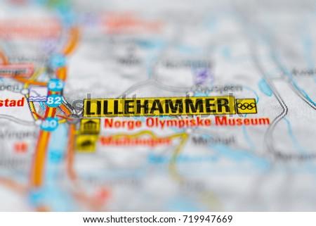 Lillehammer On Map Stock Photo 719947669 Shutterstock