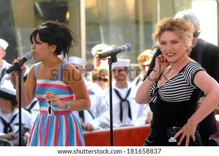 Lily Allen, Blondie's Deborah Harry on stage for The NBC Today Show Concert with Blondie and Lily Allen, Rockefeller Center, New York, NY, May 25, 2007