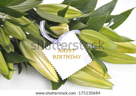 Lily bouquet for birthday - stock photo
