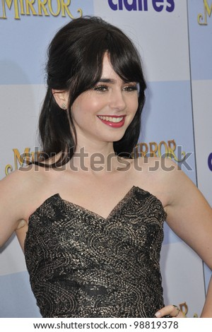 "Lily Collins at the world premiere of her new movie ""Mirror Mirror"" at Grauman's Chinese Theatre, Hollywood. March 17, 2012  Los Angeles, CA Picture: Paul Smith / Featureflash"