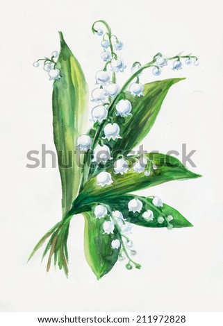 lily of the valley bouquet. Pattern from white flowers. Wedding drawings. Water color painting. Greeting cards. Flowers background, watercolor composition. Flower backdrop.   - stock photo