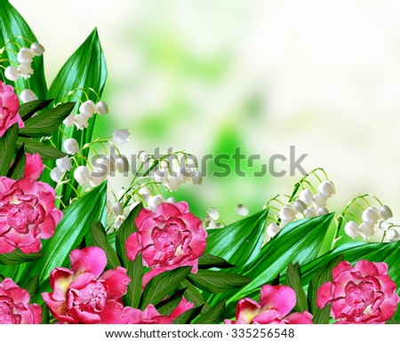 lily of the valley. peonies