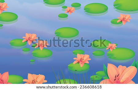 Lily pond. A large pond with lily flowers and big green lily leaves floating on the water that is being hit by random dappled sunlight. - stock photo