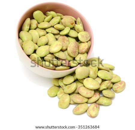 Lima beans isolated on white background - stock photo