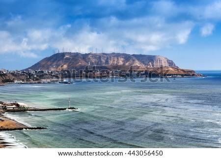 Lima coast on a sunny day - stock photo