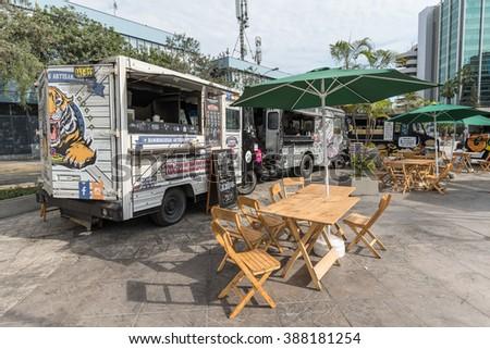 LIMA, PERU - CIRCA 2016: Food trucks in San Isidro town circa 2016 in Lima, Peru. - stock photo