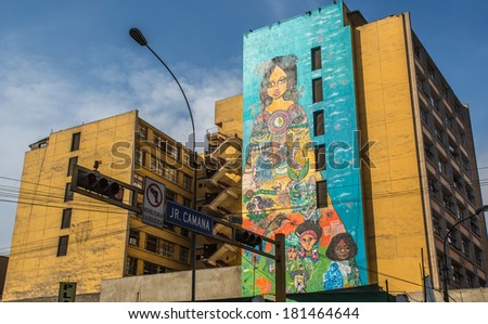LIMA - PERU, CIRCA 2014: Graffiti in the walls of an building tructure in the down town circa 2014, in Lima. - stock photo