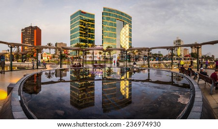 LIMA, PERU - CIRCA 2014: Larcomar water mirror and the Marriot hotel at the background circa 2014, in Lima, Peru. - stock photo