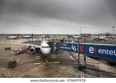 LIMA, PERU - CIRCA 2015: Panoramic view of a boarding ramp in Jorge Chavez airport circa 2015 in Lima, Peru. - stock photo