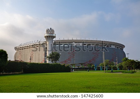 LIMA, PERU - CIRCA 2012: View of the new remodeled National Stadium circa 2012 in Lima, Peru. The National Stadium of Lima, has capacity for 50 000 spectators. - stock photo