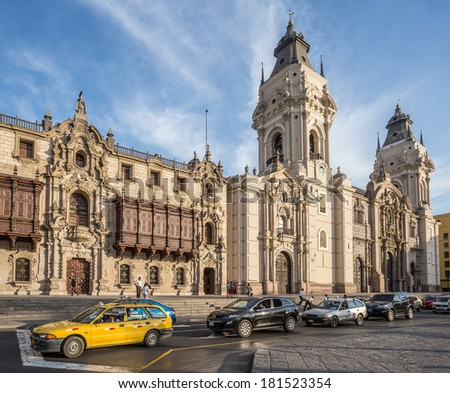 LIMA - PERU, CIRCA 2014: View of the traffic in front of the cathedral church,  circa 2014, in Lima. - stock photo