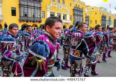 LIMA, PERU-FEBRUARY 1: Unidentified men perform during Festival of the Virgin de la Candelaria on February 1,2015 in Lima, Peru. Core of the festival is dancing performed by different dance schools