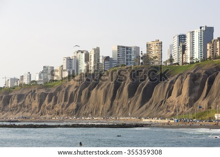 LIMA, PERU, JANUARY 19: Panoramic view of Miraflores with residential buildings and people resting on the beach in Lima, Peru 2015