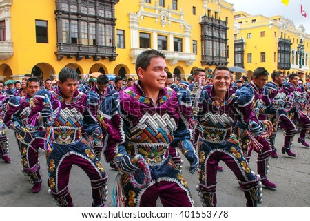 LIMA, PERU-JANUARY 31: Unidentified men perform during Festival of the Virgin de la Candelaria on January 31,2015 in Lima, Peru. Core of the festival is dancing performed by different dance schools