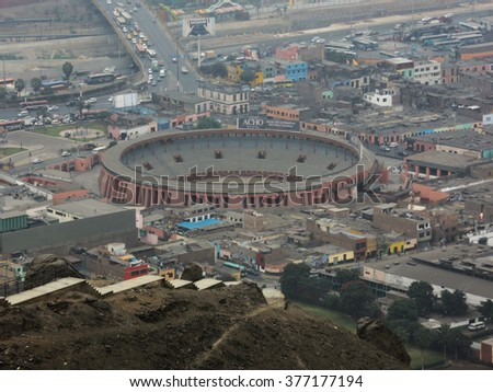 LIMA, PERU - JULY 26: Aerial view of the old Plaza de Toros, on July 26, 2015 in Lima, Peru.