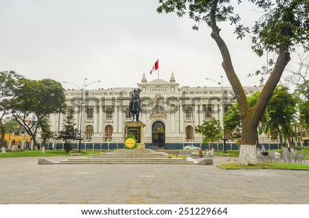 LIMA, PERU, MAY 24, 2014: Congress Palace of the Republic of Peru. The statue shows the libertador Simon Bolivar on his horse. - stock photo