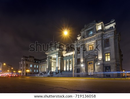 LIMA, PERU : Night view of the Palacio de Justicia