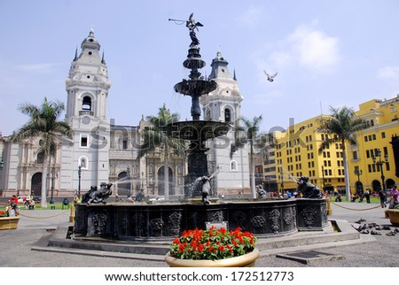 LIMA PERU NOVEMBER 24: Cathedral at Plaza de Armas on november 24 2009 in Lima, Peru.Is the birthplace of the city of Lima, as well as the core of the city. Located in the Historic Centre of Lima.