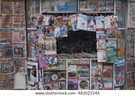 Lima, Peru - September 25 2008: A newsstand shows full of magazine and newspaper in historic downtown Lima.