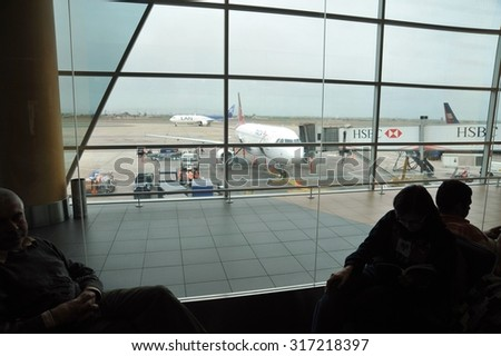 LIMA, PERU - SEPTEMBER 2, 2010:The international airport of Lima - Jorge Chavez is the main airport of Peru, situated in the area of Callao, 16 km from the city centre. In the waiting room.