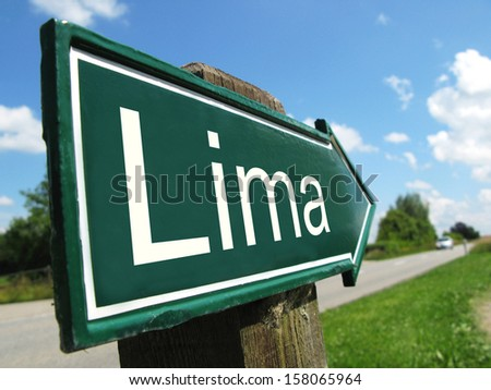 LIMA signpost along a rural road - stock photo