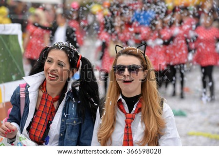 LIMASSOL, CYPRUS - FEBRUARY 22: Unidentified Carnival participants march in Cyprus Carnival Parade on FEBRUARY 22, 2015 in Limassol, Cyprus, established in 16th century