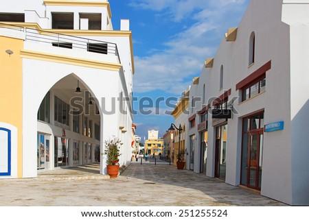 LIMASSOL, CYPRUS - JANUARY 17, 2015: New modern district of Limassol marina - stock photo