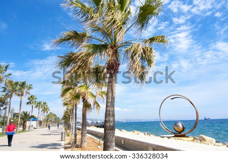 LIMASSOL, CYPRUS - MARCH 16, 2015: Park of modern sculpture, Promenade alley in Limassol, Cyprus - stock photo