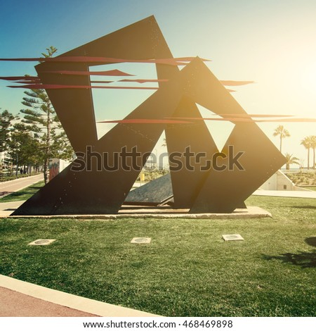 LIMASSOL, CYPRUS - MARCH 16, 2015: Park of modern sculpture, Promenade alley, 28th October Avenue in Limassol, Cyprus.