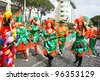 LIMASSOL, CYPRUS - MARCH 6: Unidentified participants in Cyprus carnival parade on March 6, 2011 in Limassol, Cyprus, established in 16th century, influenced by Venetian and Greek traditions. - stock photo