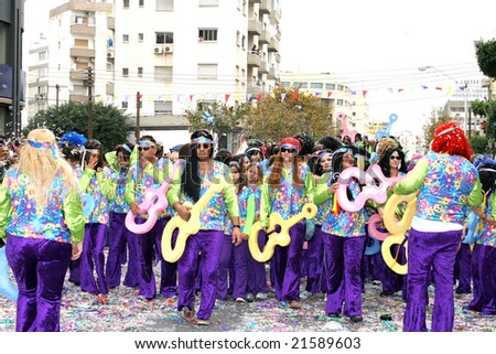LIMASSOL,CYPRUS-MARCH 9:Unidentified people in hippie costumes in Cyprus carnival parade, MARCH 9, 2008 in Limassol,Cyprus. - stock photo
