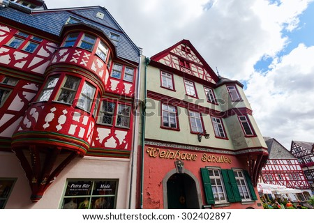 LIMBURG AN DER LAHN, GERMANY - JULY 25, 2015: old town of Limburg. Limburg is well known for its St Georgs Cathedral and its full set of nearly unscathed medieval buildings